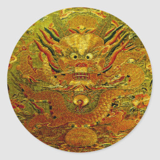 Dinastía de Ming china del bordado del dragón de Pegatina Redonda