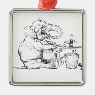 Dine Like An Elephant Illustration Metal Ornament