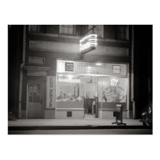 Diner at Night, 1940 Postcard