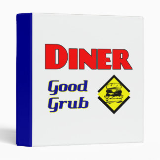 Diner Good Grub Hamburger Restaurant Art 3 Ring Binder