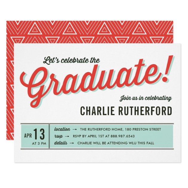 Diner Inspired Retro Typography Graduation Party Card