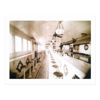 Diner Interior, 1920s Deco Vintage Postcard