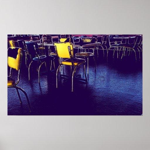 Diner Purple Yellow Digital Realism PHoto Poster