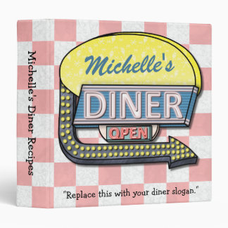 Diner Retro 50s Sign Personalized Name Recipe 3 Ring Binder