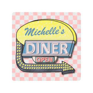 Diner Sign Retro 50s Pink Checkered | Custom Name
