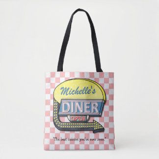 Diner Sign Retro 50s Pink Checkered | Custom Name Tote Bag