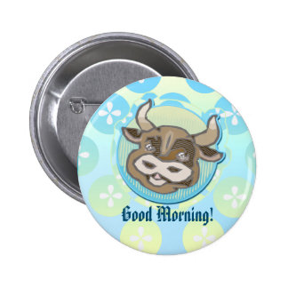 Diner Style Cow Animal Head - Pinback Button