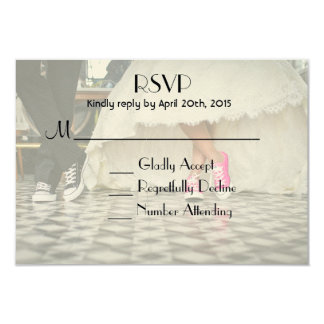 Diner style wedding couple RSVP 3.5x5 Paper Invitation Card