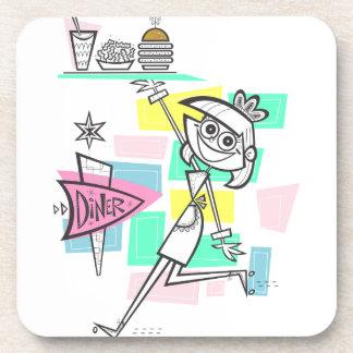 Diner Waitress on Roller Skates Drink Coasters