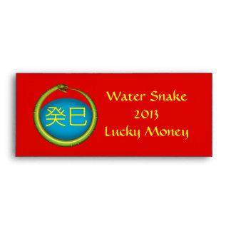 Dinero afortunado de la serpiente de agua sobre