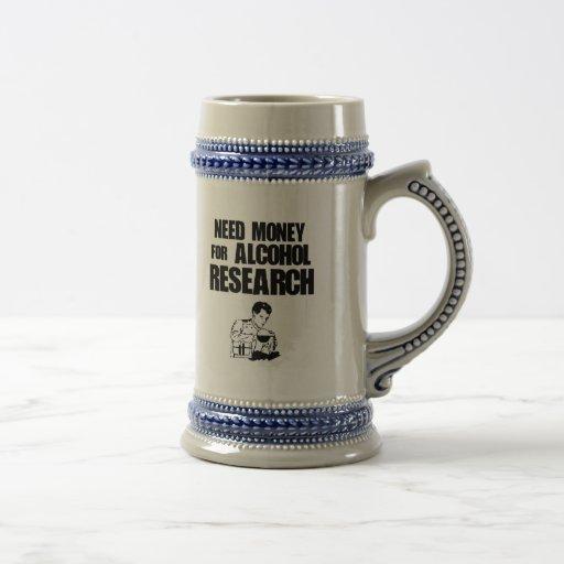 Dinero de la necesidad para la investigación del a taza