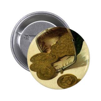 Dinero de las finanzas del negocio del vintage, chapa redonda 5 cm