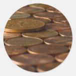 Dinero de las monedas de los peniques del penique pegatina redonda