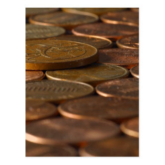 Dinero de las monedas de los peniques del penique tarjeta postal
