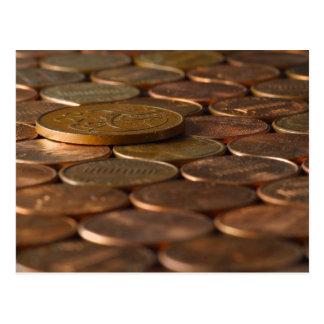 Dinero de las monedas de los peniques del penique postal
