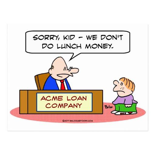dinero del almuerzo del niño de la compañía de pré tarjeta postal