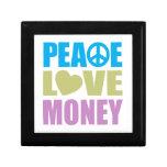 Dinero del amor de la paz caja de recuerdo