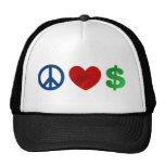 Dinero del amor de la paz gorra