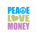 Dinero del amor de la paz postal