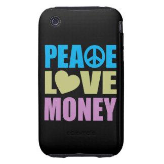 Dinero del amor de la paz tough iPhone 3 fundas