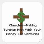 Dinero del corazón de las iglesias pegatina cuadradas