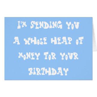 Dinero del cumpleaños tarjeta de felicitación