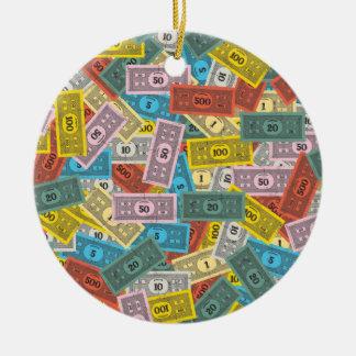 Dinero del monopolio del vintage adorno navideño redondo de cerámica