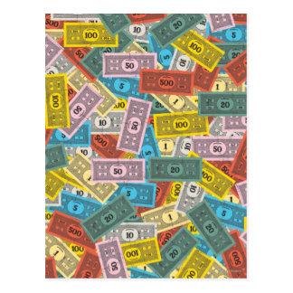 Dinero del monopolio del vintage postal
