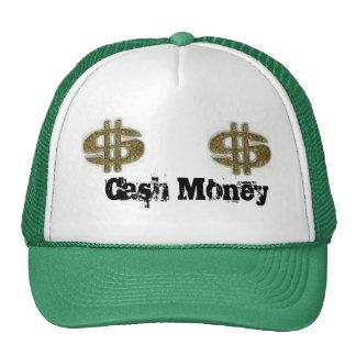 dinero, dinero, dinero del efectivo gorros bordados