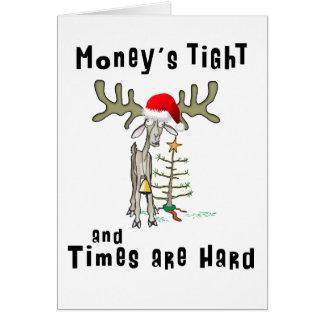 Dinero divertido de la tarjeta de Navidad apretado