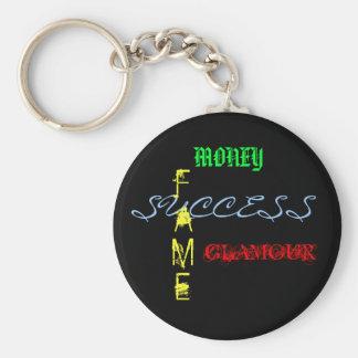Dinero, éxito, fama, encanto llavero personalizado