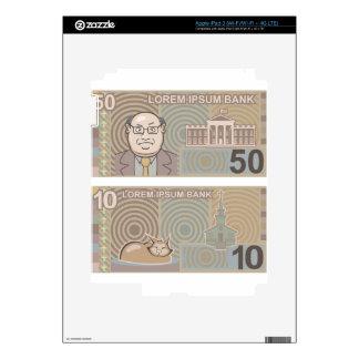 Dinero falso 50 y 10 pegatinas skins para iPad 3
