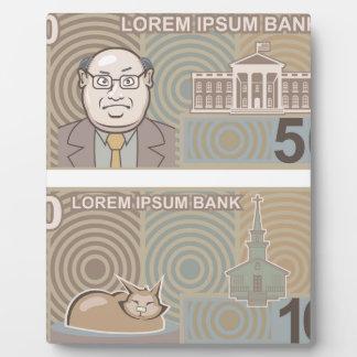 Dinero falso 50 y 10 placa de madera