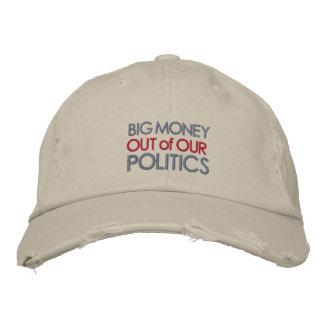 Dinero grande fuera de nuestra política gorra de beisbol bordada