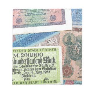 Dinero histórico blocs de notas