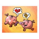 ¿Dinero o amor? Postal