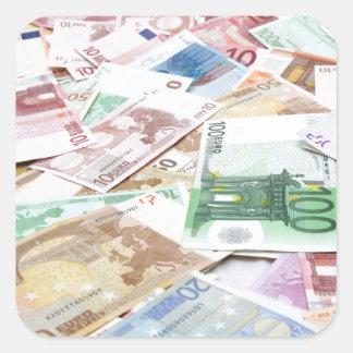Dinero & riqueza pegatina cuadrada