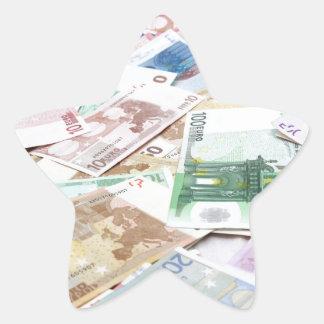 Dinero & riqueza pegatina en forma de estrella