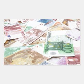Dinero & riqueza pegatina rectangular