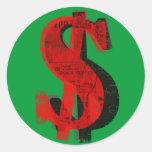 Dinero rojo etiquetas redondas