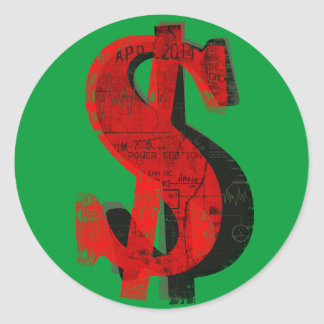 Dinero rojo pegatina redonda