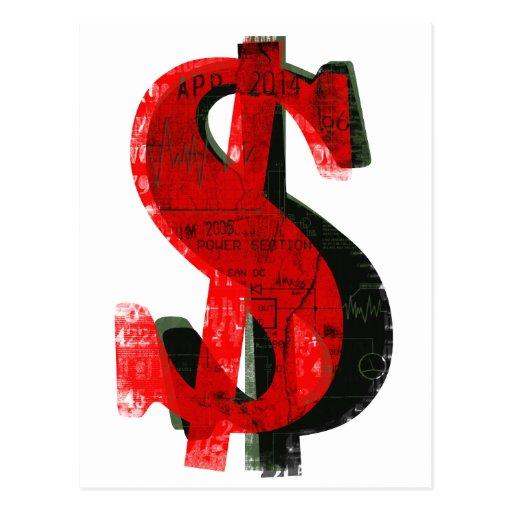 Dinero rojo tarjeta postal