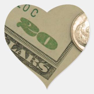 Dinero tirado - todo sobre el dinero calcomanía corazón