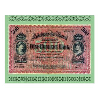 Dinero viejo Marca alemana 500 Postales