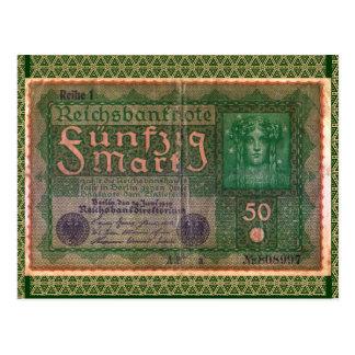 Dinero viejo: Marca alemana 50 Postal