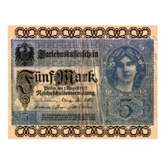 Dinero viejo: Marca alemana 5 Tarjetas Postales