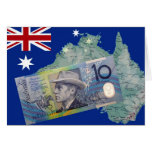 Dinero y bandera australianos tarjeta