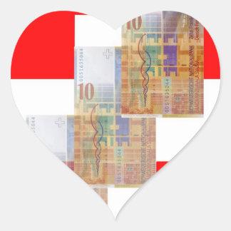 Dinero y bandera suizos pegatina en forma de corazón