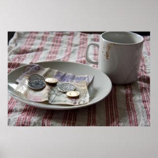 dinero y café impresiones