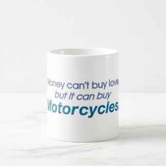Dinero y motocicletas taza básica blanca